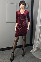 Женское осеннее бархатное красное нарядное платье MEDIUM 5120 42р.