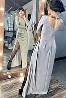 Женское осеннее серое нарядное платье MEDIUM 5127 42р.