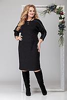 Женское осеннее трикотажное черное большого размера платье Michel chic 2028 чёрный 54р.