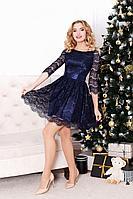 Женское осеннее кружевное синее нарядное платье MEDIUM 5205 42р.