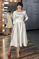 Женское осеннее белое нарядное платье MEDIUM 5245 молочный 42р.