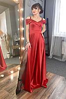 Женское осеннее красное нарядное платье MEDIUM 5248 42р.