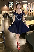 Женское осеннее синее нарядное платье MEDIUM 5249 42р.