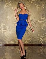 Синее платье-баска,миди,без бретелек с чашками