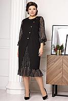 Женское осеннее шифоновое нарядное большого размера платье Мода Юрс 2632 черный_горох 52р.