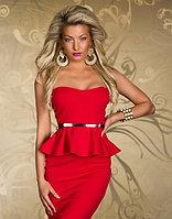 Красное платье-баска,миди,без бретелек с чашками