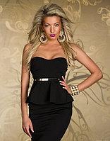 Черное платье-баска,миди,без бретелек с чашками