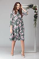 Женское осеннее зеленое большого размера платье Michel chic 994 оливковый 46р.