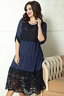 Женское осеннее шифоновое синее нарядное большого размера платье Solomeya Lux 778 синий 48р.