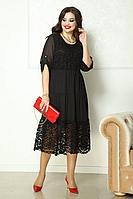 Женское осеннее шифоновое черное нарядное большого размера платье Solomeya Lux 778 черный 48р.