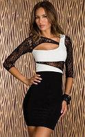 Сексуальное черно-белое платье с гипюром