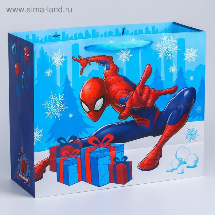 """Пакет новогодний """"С Новым годом!"""", 49 x 40 x 19 см, Человек-Паук - фото 2"""