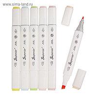 Набор маркеров Superior, профессиональные, двусторонние, 6 шт., 6 цветов, пастель, MS-898