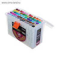 Набор маркеров Superior, профессиональные, двусторонние, наконечник мягкая кисть, 60 штук, 60 цветов, MS-837