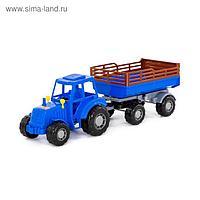 Трактор с прицепом №2, цвет синий (в сеточке)