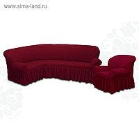Чехол для мягкой мебели 2пред диван угловой, кресло 6055, трикотаж, 100%пэ,