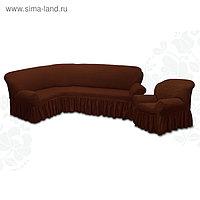 Чехол для мягкой мебели 2 пред диван угловой, кресло 6057, трикот, 100%пэ,