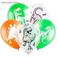 """Шар латексный 12"""" «Динозавры», пастель-кристалл, 4-сторонний, набор 100 шт., МИКС"""