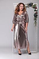 Женское осеннее бежевое нарядное большого размера платье Michel chic 2030 золото 54р.