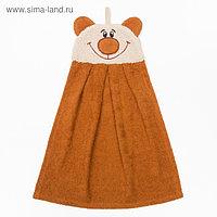 """Полотенце-рушник махровый """"Медведь"""", 43×35 см, коричневый, хл100%, 300 г/м²"""