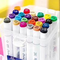 Набор маркеры профессиональные для скетчинга / рисования фломастеры 24 цвета двусторонние