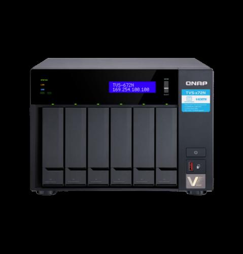 """QNAP TVS-672N-i3-4G Сетевой RAID-накопитель, 6 отсеков 3,5""""/2,5"""", 2 слота M.2, HDMI-порт, 1 порт 5 GbE BASE-T."""
