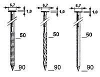 Гвозди для пневмопистолетов. В наличии: кольцевой, винтовой.  Длина: 40,60,80,90, фото 1