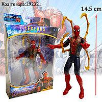 Детская фигурка Человека паука Spider man с подвижными ногами и руками с светоэффектом 14.5 см