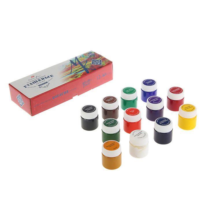 Гуашь художественная «Мастер-класс», набор, 12 цветов, 40 мл