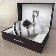 Часы наручные женские Anne Klein с тремя дизайнерскими браслетами (Черный в серебре)