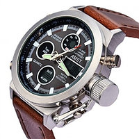 Часы наручные ударопрочные + водонепроницаемые AMST Military 3003 в армейском стиле (Коричневый ремешок)