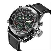 Часы наручные ударопрочные + водонепроницаемые AMST Military 3003 в армейском стиле (Черный ремешок)
