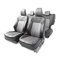 Чехлы AUTOPROFI для передних и задних сидений, экокожа и алькантара, черный/серый цвет, 14 предметов