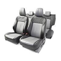 Чехлы AUTOPROFI для передних и задних сидений, экокожа, черный/серый цвет, 14 предметов