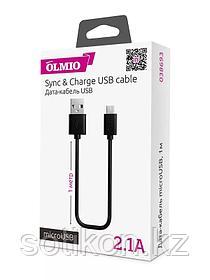 Кабель OLMIO USB 2.0 - microUSB,  1м, 2.1A, черный