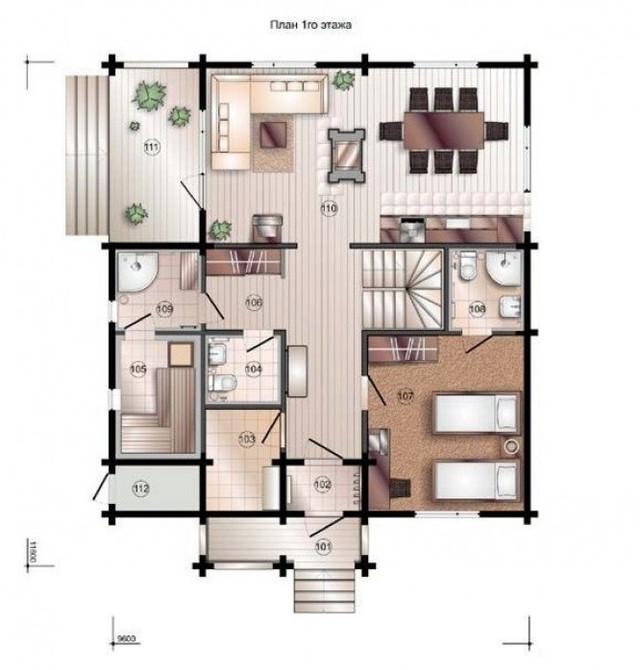 Проект двухэтажного дома из профилированного бруса с террасами, план двухэтажного дома и строительство под ключ, проектирование и строительство деревянных домов.