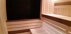 "Финская сауна с парообразователем. Размер = 2,4 х 1,9 х 2,3 м. Адрес: г. Алматы, КГ ""ЭДЕЛЬВЕЙС"" 17"