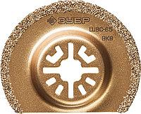 Шлифовальная насадка c карбид-вольфрамовым напылением ВК-8, сегментная, диаметр 65 мм, ЗУБР Профессионал,