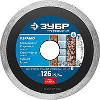 КЕРАМО-22 115 мм, диск алмазный отрезной сплошной по керамограниту, мрамору, плитке, ЗУБР Профессионал