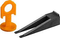 ЗУБР СВП комплект: 50+50шт (клин + зажим), система выравнивания плитки, в пластиковом ведре.