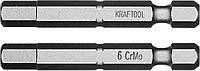 """Биты """"X-DRIVE"""" торсионные кованые, обточенные, KRAFTOOL 26127-6-50-2, Cr-Mo сталь, тип хвостовика E 1/4"""","""