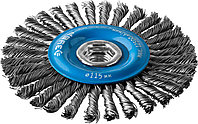 """ЗУБР """"ПРОФЕССИОНАЛ"""". Щетка дисковая для УШМ, плетеные пучки стальной проволоки 0,5мм, 115ммхМ14"""