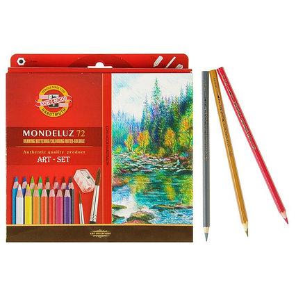 Карандаши акварельные набор 72 цвета Koh-i-Noor Mondeluz 3714 + точилка + кисть 2 штуки