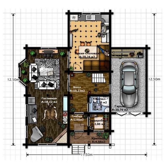Проект дома из профилированного бруса, план двухэтажного дома и строительство под ключ, проектирование и строительство деревянных домов.