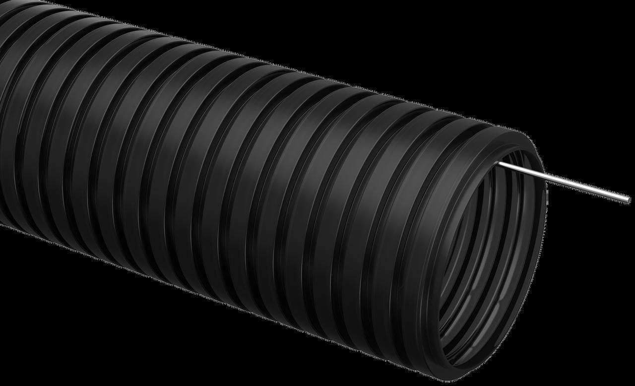 Труба гофр.ПНД d 16 с зондом (100 м) ИЭК черный