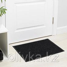 Коврик придверный влаговпитывающий, ребристый, «Комфорт», 40×60 см, цвет чёрный