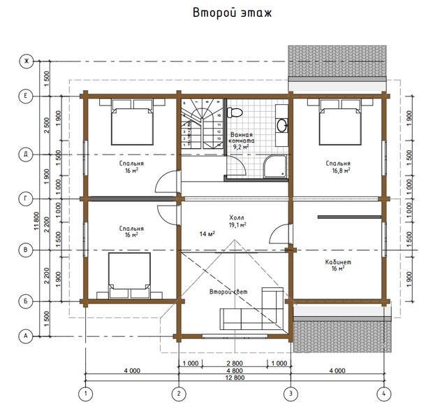Проект дома из бруса, план двухэтажного дома и строительство под ключ, проектирование и строительство деревянных домов.
