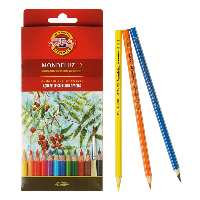Карандаши акварельные набор 12 цветов, Koh-i-Noor Mondeluz 3716