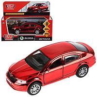 Машина металлическая инерционная Skoda Octavia, хром красный, 12 см