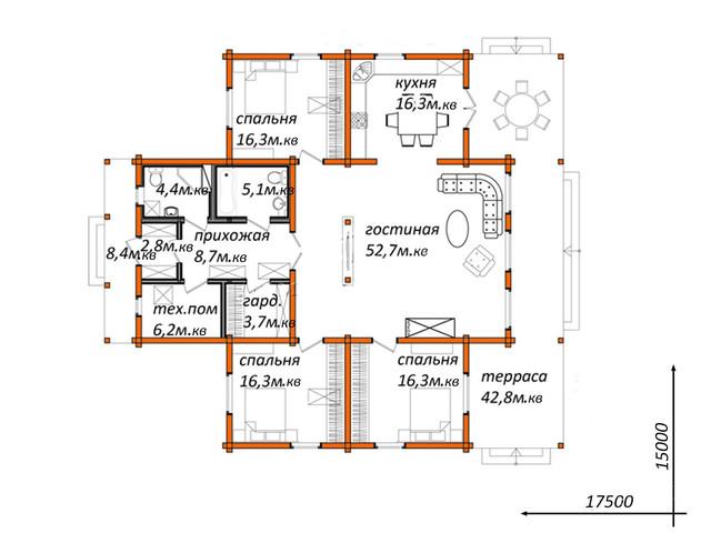 Проект частного дома из бруса, план двухэтажного дома и строительство под ключ, проектирование и строительство деревянных домов.
